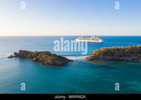 Aerial view of luxury cruise ship sailing in the Caribbean Sea, Antilles, Central America - Stock Photo