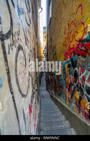 Marten Trotzigs Grand, narrowest alley in Stockholm located in Gamla Stan, Sweden - Stock Photo
