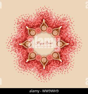 Traditional Diwali festival background with burning diya lamps and flowers. Decorative rangoli border for Diwali or Pongal Festival made using petals - Stock Photo