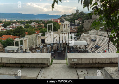 PLOVDIV, BULGARIA - JULY 4,  2018: Sunset view of Ancient Roman theatre of Philippopolis in city of Plovdiv, Bulgaria - Stock Photo