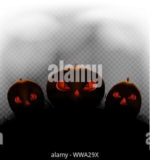Halloween pumpkins in transparent dark - Stock Photo