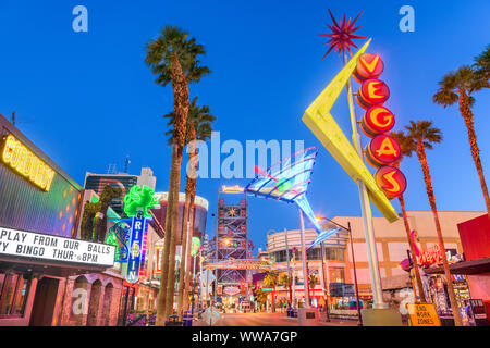 LAS VEGAS, NEVADA - MAY 13, 2019: Fremont East District of Las Vegas at dawn. It is among the most famous streets in the Las Vegas Valley. - Stock Photo