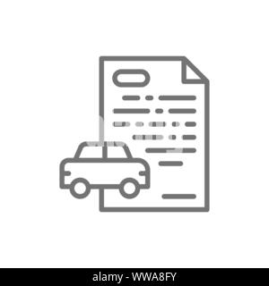 Car loan, credit for automobile line icon. - Stock Photo