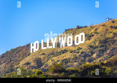 LOS ANGELES - FEBRUARY 29, 2016: The Hollywood sign on Mt. Lee. The iconic sign was originally created in 1923. Stock Photo