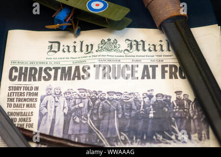 Doncaster, UK - 28th July 2019: Newspaper from Christmas WW1 showing the temporary truce. Daily Mail December 31 1914 - Stock Photo