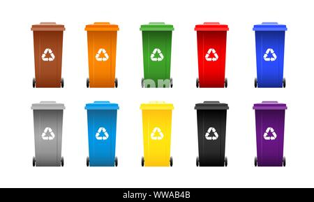 Set of colorful separation waste bins with recycle signs. Collection of cans isolated on white background. Vector illustration. - Stock Photo