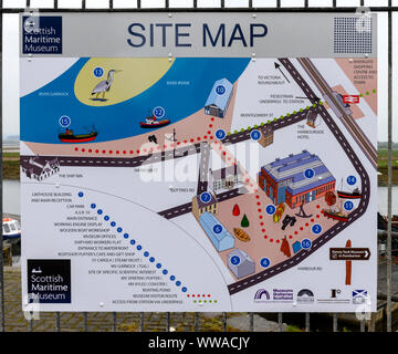Site map for the Scottish Maritime Museum situated at Harbour Road, Irvine, Ayrshire, Scotland, UK - Stock Photo