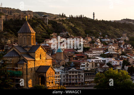 Tbilisi, Georgia - June 14, 2016: Beautiful view of old Tbilisi at sunset, Georgia, Europe - Stock Photo