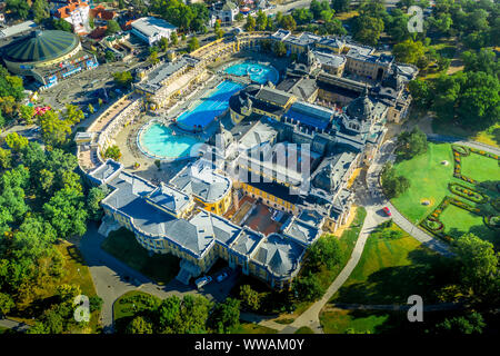 Aerial view of Szechenyi spa thermal bath with futuristic looking zoo in Budapest Hungary - Stock Photo