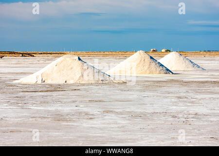 Dunes of salt, Aigues-Mortes, France - Stock Photo