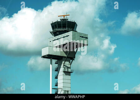 Leipzig-Halle Airport control tower Germany - Stock Photo