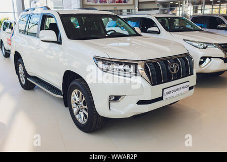Ufa, Russia, 1 July, 2019: Toyota Land Cruizer Prado, side view. Photography of a modern car on a parking - Stock Photo