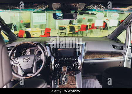 Ufa, Russia, 1 July, 2019 Toyota Alphard car is displaying at Toyota - Stock Photo