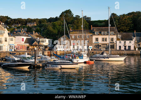 Early morning view across Padstow harbour, North Cornwall - Stock Photo