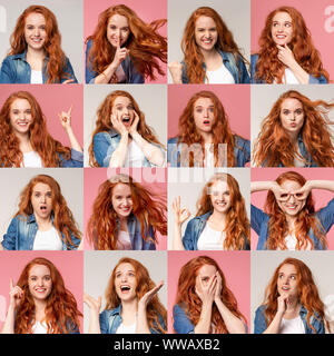 Collage of young redhead girl portraits with different emotions and gestures - Stock Photo