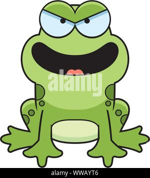 A cartoon illustration of an evil looking frog. - Stock Photo