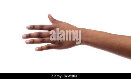 Closeup Of Black Female Hand Isolated On White Background - Stock Photo