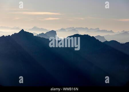 Evening view over Italian Julian Alps from Montasio plateau, Sella Nevea, Italy, Friuli - Stock Photo