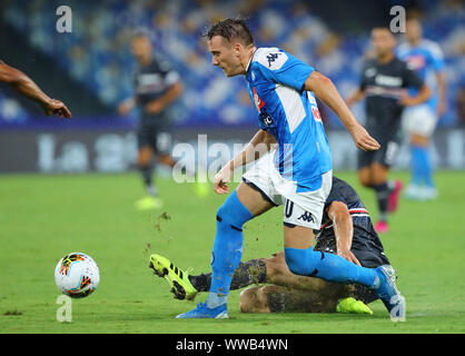 Naples, Italy. 14th September 2019; Stadio San Paolo, Naples, Campania, Italy; Serie A Football, Napoli versus Sampdoria; Piotr Zielinski of Napoli breaks forward - Editorial Use Credit: Action Plus Sports Images/Alamy Live News - Stock Photo