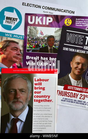 Election leaflets from the Labour, Brexit and UKIP parties and Tommy Robinson for the European Parliamentary Elections on Thursday 23 May 2019 - Stock Photo