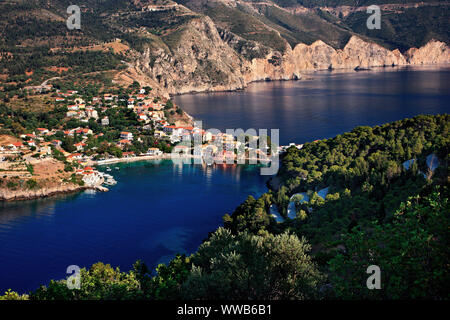 Assos (or 'Asos') village, one of the most beautiful villages of Kefalonia, on the north part of the island. Ionian Sea, Greece. - Stock Photo