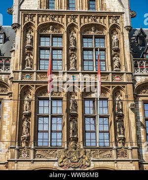 Old post office building gothic facade detail. Historical centre of Ghent, Flemish Region, Belgium, EU. - Stock Photo