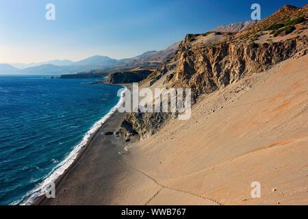 RETHYMNO, CRETE, GREECE. Panoramic view of Agios Pavlos beach at the south coast of the island. - Stock Photo