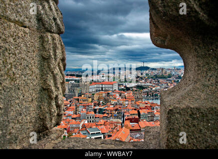 View of Se neighborhood and the Cathedral of Se from Torre dos Clerigos. Porto city, Portugal - Stock Photo