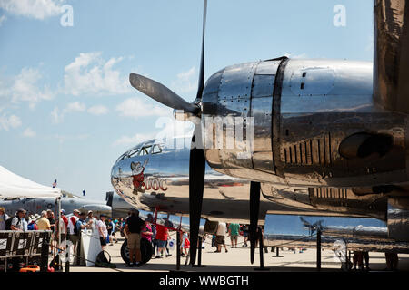 B-17 Flying Fortress aircraft on display at the 2019 EAA AirVentures show in Oshkosh, Wisconsin - Stock Photo