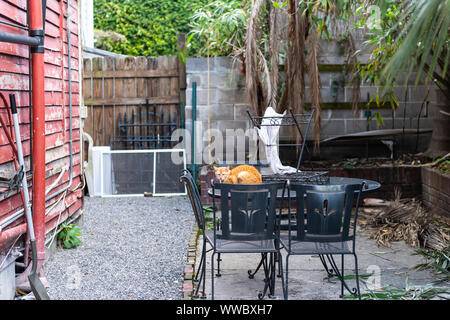 Stray hungry tabby orange ginger cat with sad eyes huddled on cold metal table on street outside on house home patio in New Orleans, Louisiana - Stock Photo