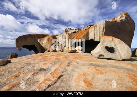 Remarkable rocks with blue and white sky, impressive landmark on Kangaroo Island, South Australia - Stock Photo