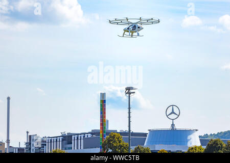 Individual Transport of the Future: First flight of a Velocopter at the Mercedes Museum Stuttgart. - Stock Photo