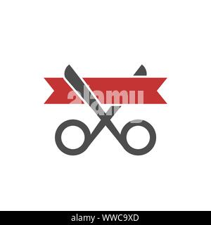 Grand opening icon. Scissors and ribbon sign, Vector illustration - Stock Photo