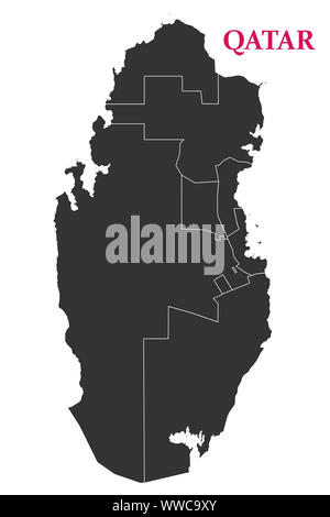 Qatar political map, State of Qatar geography outline vector.Arab country. - Stock Photo