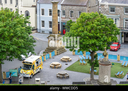 Castletown, Isle of Man, June 15, 2019. Looking from Castle Rushen, into Castletown's Market Square with Ice cream van - Stock Photo