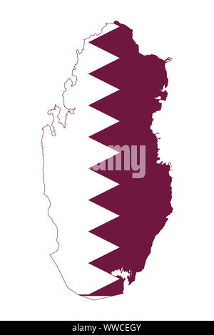 Maps of Qatar with national flag isolated on white background vector - Middle east Arab country. - Stock Photo