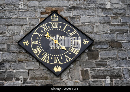 Castletown, Isle of Man, June 15, 2019. Castle Rushen clock is a notable landmark in Castletown, having been presented by Queen Elizabeth I of England - Stock Photo