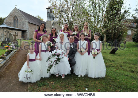 Wedding at Holmer Church and Munstone House, Hereford - Stock Photo