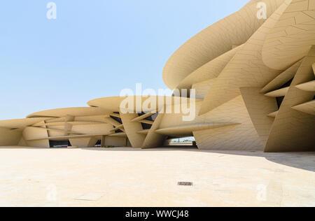 The desert rose inspired architectural landmark of the National Museum of Qatar, Doha, Qatar - Stock Photo