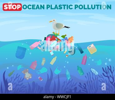 Stop ocean plastic pollution poster with pile of garbage in water - Stock Photo