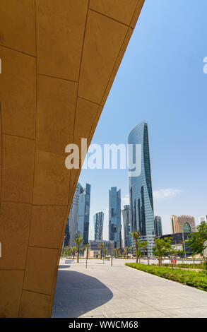 Framed city views from the Doha Metro looking towards the skyscrapers of the West Bay area, Doha, Qatar - Stock Photo