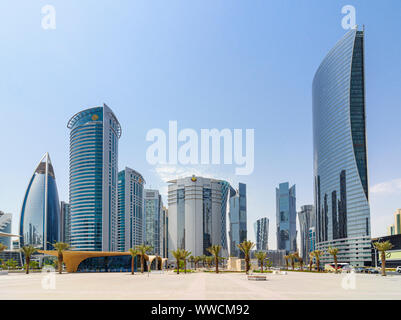 Views over the entrance to the Doha Metro looking towards the skyscrapers of the West Bay area, Doha, Qatar - Stock Photo