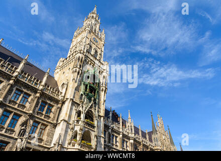 Detail of the neo-Gothic New Town Hall in the Marienplatz, Munich, Bavaria, Germany - Stock Photo