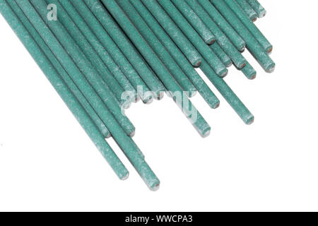 Electrodes for welding isolated on a white background. Accessories of welder. - Stock Photo