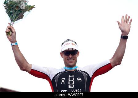 De Zuid-Afrikaanse triatleet Matthew Trautman (RSA) heeft in de Challenge Almere het parcoursrecord aangescherpt. Hij won de op n na oudste hele triatlon van Europa in een tijd van 7 uur, 50 minuten en 15 seconden, during Long Distance European Champions Almere-Amsterdam on september 14, 2019 in Almere, Netherlands Foto: SCS/Soenar Chamid/AFLO (HOLLAND OUT) - Stock Photo