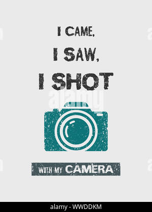 I came, i saw, i shot with my camera, funny text composition minimalist design illustration. Creative banner for modern photographers and videographer - Stock Photo