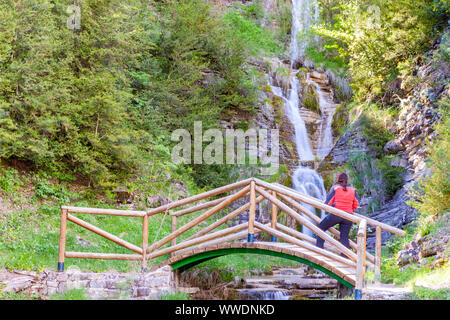 Sibiscal waterfall, Aisa Valley in La Jacetania, Huesca, Spain - Stock Photo