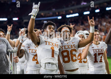 September 14, 2019: Texas Longhorns wide receiver John Burt (1) and wide receiver Jordan Pouncey (86) after an NCAA football game between the Texas Longhorns and the Rice Owls at NRG Stadium in Houston, TX. Texas won the game 48 to 13...Trask Smith/CSM - Stock Photo