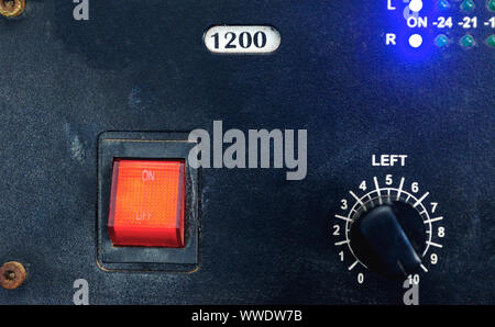Vintage of main Switch red on-off and controller board - Stock Photo