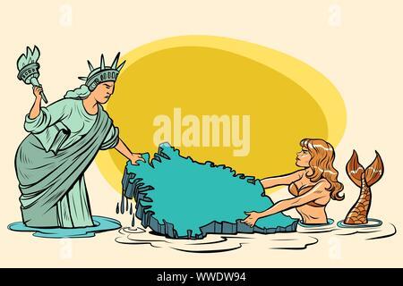 Caricature. USA and Denmark are pulling Greenland. American statue of liberty vs. Danish mermaid. comic cartoon pop art retro vector illustration draw - Stock Photo